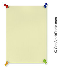 Notice - blank yellow note with four colored pushpins crated...