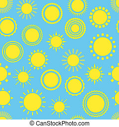 Sun seamless pattern Creative yellow sunlight symbols...