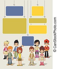 Teenagers - Template for advertising brochure with cartoon...