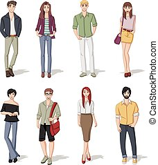 cartoon young people - Group of fashion cartoon young people...
