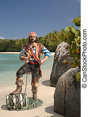 Pirate on a Caribbean beach