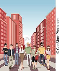 cartoon young people - Group of cartoon young people....