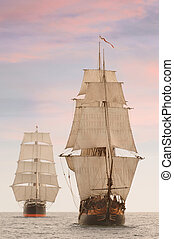 Tall Ships Front View - Tall wooden vintage sailing ships...