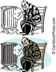 Broken Radiator - A cold man shivers next to his broken...