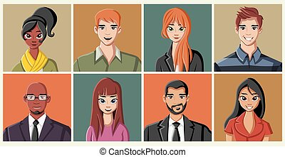 cartoon young people - Group of business cartoon young...