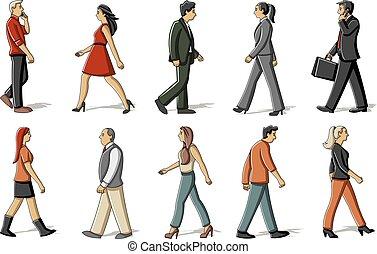cartoon people walking - Group of cartoon people walking