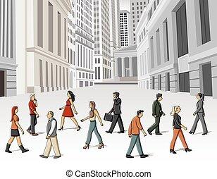 cartoon people walking - Group of cartoon people walking on...