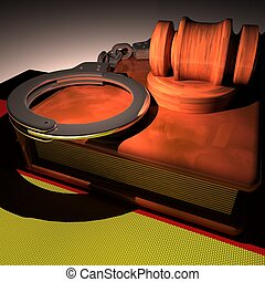 Handcuffs, gavel and book over Germany flag