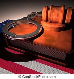 Hadcuffs, gavel and book over USA flag