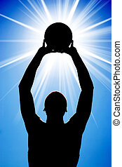 Abstract Basketball Silhouette - A silhouette of a...