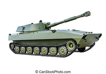 """Soviet self-propelled howitzer 2S1 """"Gvozdika"""". isolated on..."""