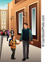 Father Son Walking to School - A vector illustration of...
