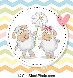 Greeting card with two Sheep