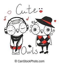 Two Cute fashion owls