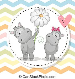 Greeting card with two Hippos