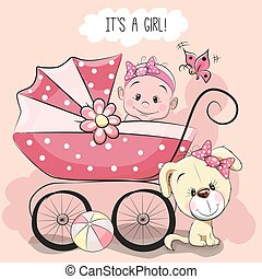 Greeting card it is a girl - Greeting card it's a girl with...