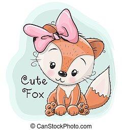 Cute Cartoon Fox on a blue background