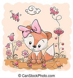 Cute cartoon Fox - Cute Cartoon Fox on a meadow with flowers...