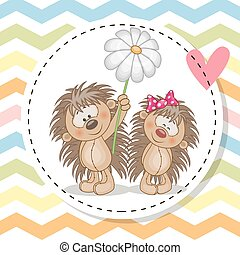 Greeting card with two Hedgehogs - Greeting card with two...