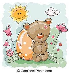 Cute Teddy Bear - Cute Cartoon Teddy Bear with egg on a...