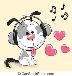 Cute cartoon Puppy - Cute cartoon Dog with headphones on a...