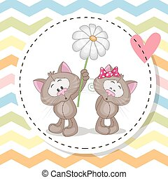 Greeting card with two Cats