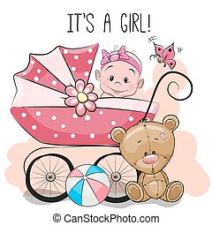 Greeting card it's a girl with baby carriage and teddy bear