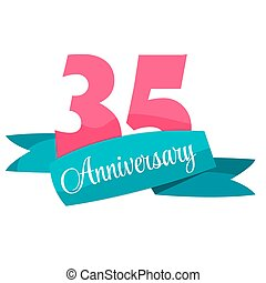 Cute Template 35 Years Anniversary Sign Vector Illustration...