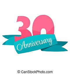 Cute Template 30 Years Anniversary Sign Vector Illustration...
