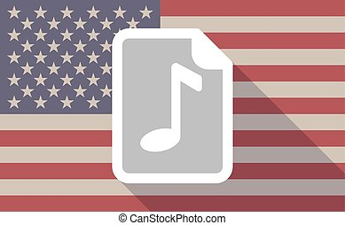 Long shadow USA flag icon with a music score icon -...