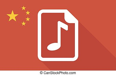 China long shadow flag with a music score icon -...