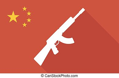 China long shadow flag with a machine gun sign -...