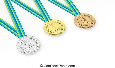 Three medals on white background