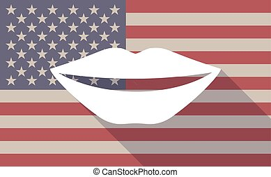 Long shadow USA flag icon with   a female mouth smiling