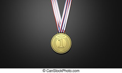 Golden first place medal - 3D rendering of golden first...