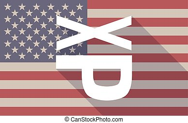 Long shadow USA flag icon with   a Tongue sticking text face emoticon