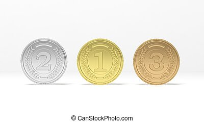 Three medals on white background - Isolated golden,silver...
