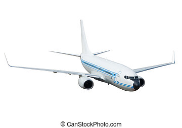 Jet Aircraft - A Passenger Jet Airplane Isolated on White