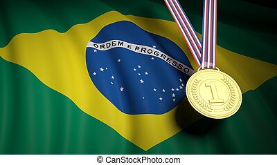 Golden first place medal on waving Brazil flag - Close-up of...