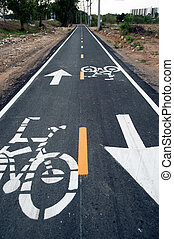 Bike lane in Thailand - Bike lane only in Khao Tao...