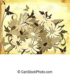 old paper with daisies