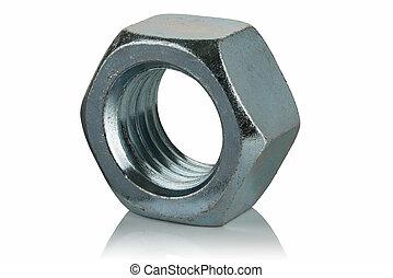 steel galvanized nut - galvanized steel nut on a white...
