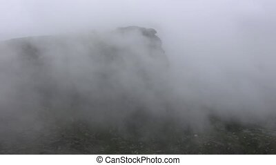 Amazing time-lapse scene of Mist moving in the most famous...
