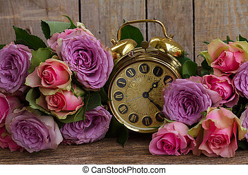 bouquet of fresh roses - bouquet of fresh pink and violet...