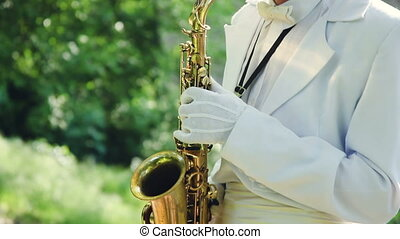 Saxophonist in nature. Video Series. - Saxophonist dressed...