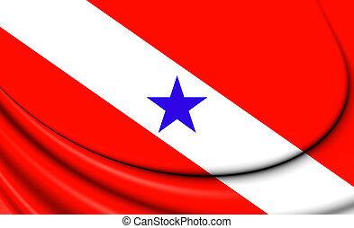 Flag of Para, Brazil - 3D Flag of Para, Brazil Close Up