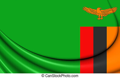 Flag of Zambia - 3D Flag of the Zambia Close Up