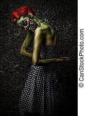fashionable zombie - Frightening pin-up zombie girl over...