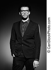 imposing model - Fashion shot of a handsome man wearing...