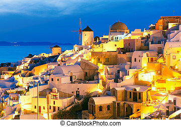 Oia at night, Santorini, Greece - Windmills in Oia on the...